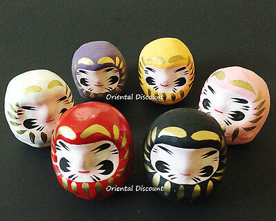 "6 PCS. Japanese 2""H Wish-Making Daruma Dolls for Rich Health Love, Made in Japan"