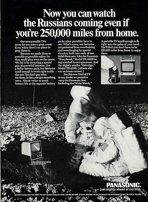 1969 Panasonic PRINT AD features Portable Television TV Astronauts