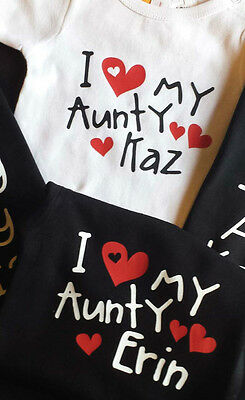 I love my Aunty!  Baby Personalised Cotton Romper, Custom printed