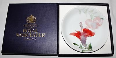 Royal Worcester Language of Flowers HIBISCUS Coaster, New in Box