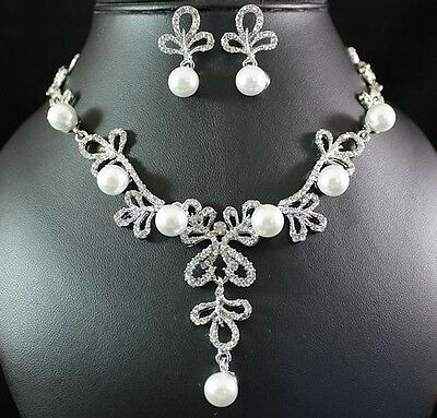 Pearl Austrian Rhinestone Crystal Necklace Earrings Set Bridal Wedding N1582