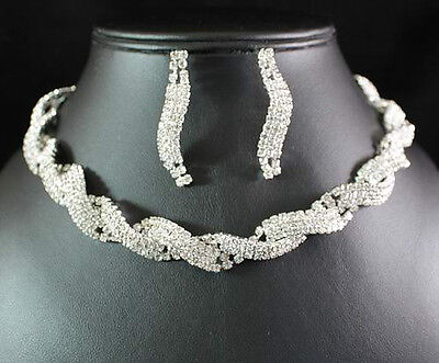 Chic Austrian Rhinestone Crystal Necklace Earrings Set Bridal Wedding N1583