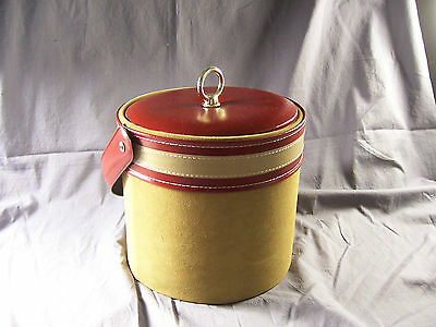 Vintage Ice Bucket Faux Suede Leather Georges Briard Mid Cent Mod Tan Red