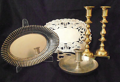 Lot of FIVE (5) pcs. Vintage Candle Holders & Table Ware Mixed Metals - FHa