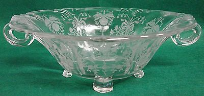 "Heisey ORCHID 8-1/2"" Handled Bowl 4 Toed  1509 69"