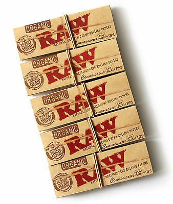 5 x RAW 1 1/4 CONNOISSEUR Natural UNREFINED Hemp Rolling papers ORGANIC+ TIPS