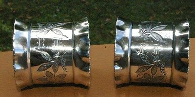 Lovely Victorian  Pair Floral  Pattern Ruffled edge Silverplate Napkin Rings
