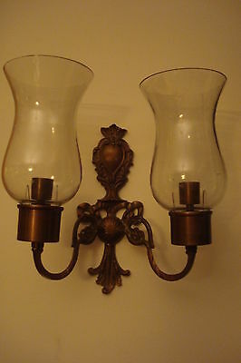 Andrea by Sadek wall brass sconce 2 candleholders with shades [8]