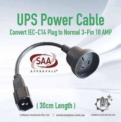 30cm UPS Power Cord Extension Lead Cable IEC C14 Male to 3-Pin AU Female Socket