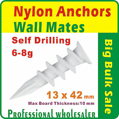1000 x 13mmx42mm Nylon Anchors Plasterboard Self Drill Wall Mates Hollow Wall