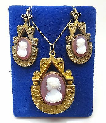 14K Gold Genuine Natural Stone Cameo Pendant and Earrings Set (#1040)