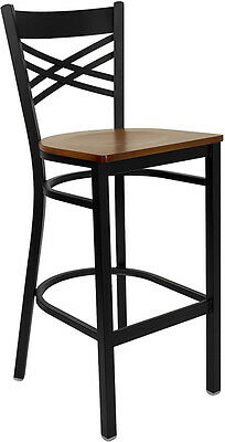 Black ''X'' Back Metal Restaurant Bar Stool with Cherry Wood Seat
