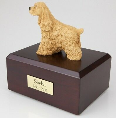 Buff Cocker Spaniel Pet Funeral Cremation Urn Avail in 3 Diff Colors & 4 Sizes