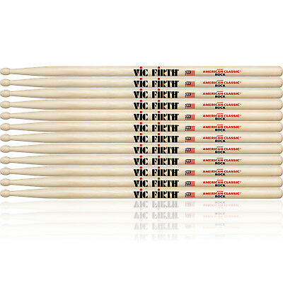 6 Pairs of Vic Firth American Classic Rock Wood Tip Drumsticks, Drum Sticks