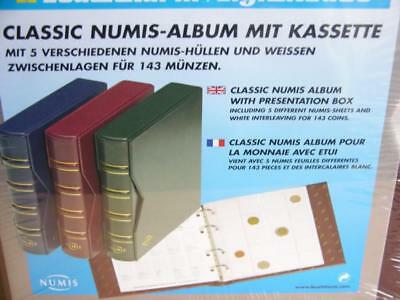 Numis Classic coin album set 5 pages Slipcase Red Blue Green quality Leatherette