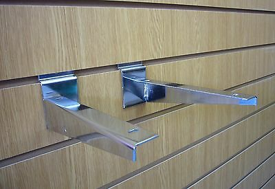 Slatwall Timber Shelf Bracket Chrome 300mm SOLD IN PAIRS Pack of 10