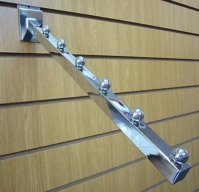 6 Ball Waterfall Arm for Slatwall Chrome Finish Pack of 5