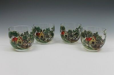 4 Antique Hand Painted Stage Coach Winter Scene Glass Brandy Glasses
