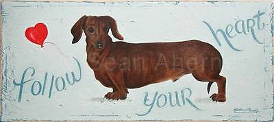 Dachshund Sausage Weiner Dog Wooden Sign Plaque Picture Print Art for Dog Lovers