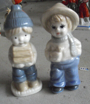 """Lot of 2 Vintage Porcelain Boy with Wood and Girl with Duck Figurines 3 3/4"""""""