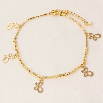 """9K 9ct Yellow """"Gold FILLED"""" Ladies BEADED ANKLE CHAIN Bell ANKLET. 10.5"""" Gift"""