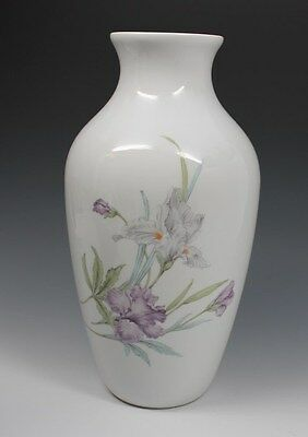 AK Kaiser MARINA Large Vase, Gray & Lavender Irises, K Nossek, West Germany