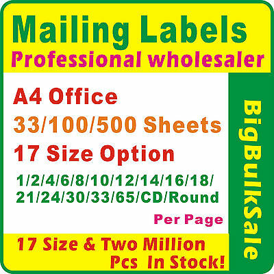 Mailing labels Professional Wholesaler A4 Office 33/100/500Sheets 17 Size Option