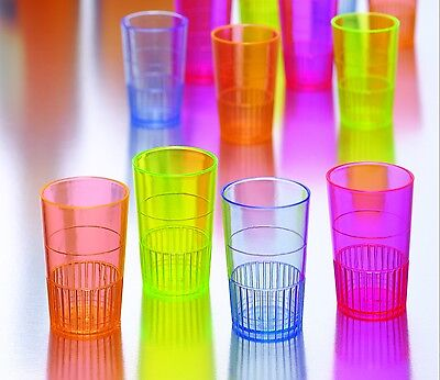 300 Neon Lights  Hard Plastic Shot Glasses Cups 1.5oz  Multi Colored Shooters