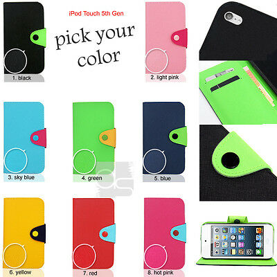 L Leather Wallet Skin Case Cover Pouch For iPod Touch 5G 5th Generation 5 G Gen