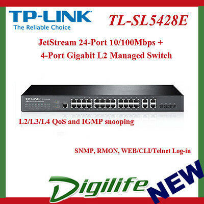 TP-LINK TL-SL5428E 24+4G Gigabit-Uplink Fully Managed Switch, 24 10/100Mbps RJ45