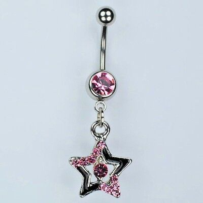 Star Dangle Belly Button Ring Bar Black With Pink Navel Piercing Jewelry B2