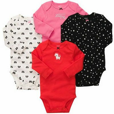 New Carter's 4 Pack Star Bow Kitty Cat Bodysuits NWT Size Newborn 5-8 pounds