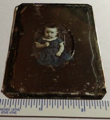 1850s FULL RARE FULL COLOR PORTRAIT OF A CHILD ODD FRAME DAGUERREOTYPE 1/6th#19a