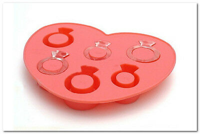 1x Love Ring Shaped Silicone Cube Ice Cake Trays Pudding Jelly Mold Maker Party