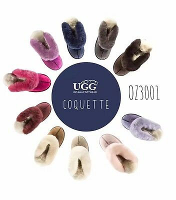OZLANA Unisex/Ladies/Men New 100% Australian Sheepskin UGG Slippers scuff