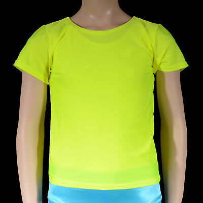 Mens, Boys Fluro Yellow Nylon Lycra Dance Shirt Top, Gym Figure Skating Jazz Tap