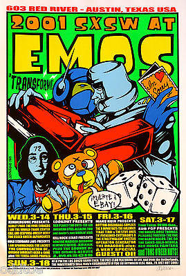 The Shins and others CONCERT Poster S/N by Jermaine Rogers, SXSW Festival 2001