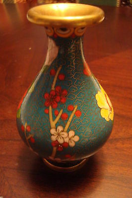 Cloissone vase made in Japan, blue and red/yellow flowers