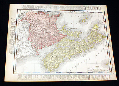 Antique Color Map New Brunswick Nova Scotia or Manitoba 1899 Universal Atlas