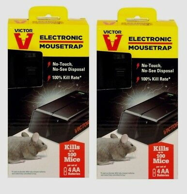 2 New VICTOR Electronic Mouse Trap No Touch Reusable Battery Pest Control M2524