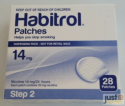 STEP 2 HABITROL TRANSDERMAL NICOTINE PATCH 14mg 2 boxes 56 patches FRESH