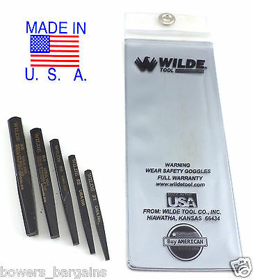 Wilde Tool 5pc Screw & Bolt Extractor Set MADE IN USA Premium Quality Easy wCase