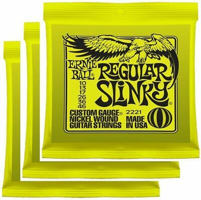 Ernie Ball 2221 Nickel Regular Slinky Electric Guitar Strings 10 - 46 x 3 Packs