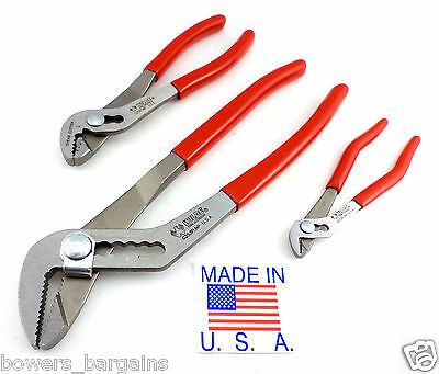 """Wilde Tool 3pc Original Angle Nose Slip Joint Plier Set 5, 6 & 10"""" MADE IN USA"""