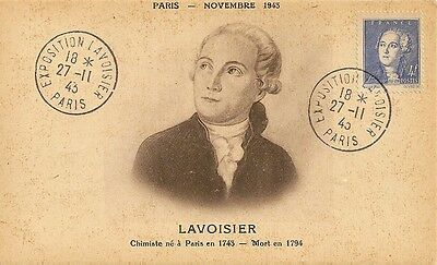 Carte Postale Maximum Exposition Chimiste Lavoisier Paris Novembre 1943
