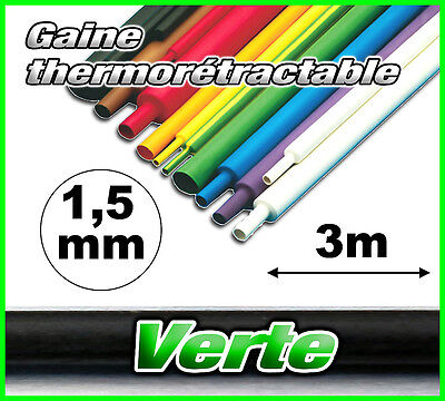 GV1.5-3# gaine thermorétractable verte 1,5mm 3m ratio 2/1  gaine thermo