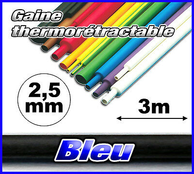 GB2.5-3# gaine thermorétractable Bleu 2,5mm 3m ratio 2/1  gaine thermo