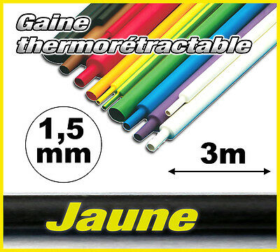 GJ1.5-3# gaine thermorétractable Jaune 1,5mm 3m ratio 2/1  gaine thermo