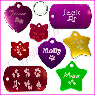 Personalised Custom Engraved Pet Tags For Dog Puppy Cat Free Engraving Cute Gift
