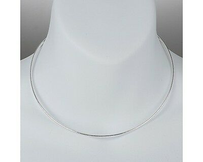 """16"""" Sterling Silver Omega Necklace Round Snake Chain Pure 925 Italy US Wholesale"""